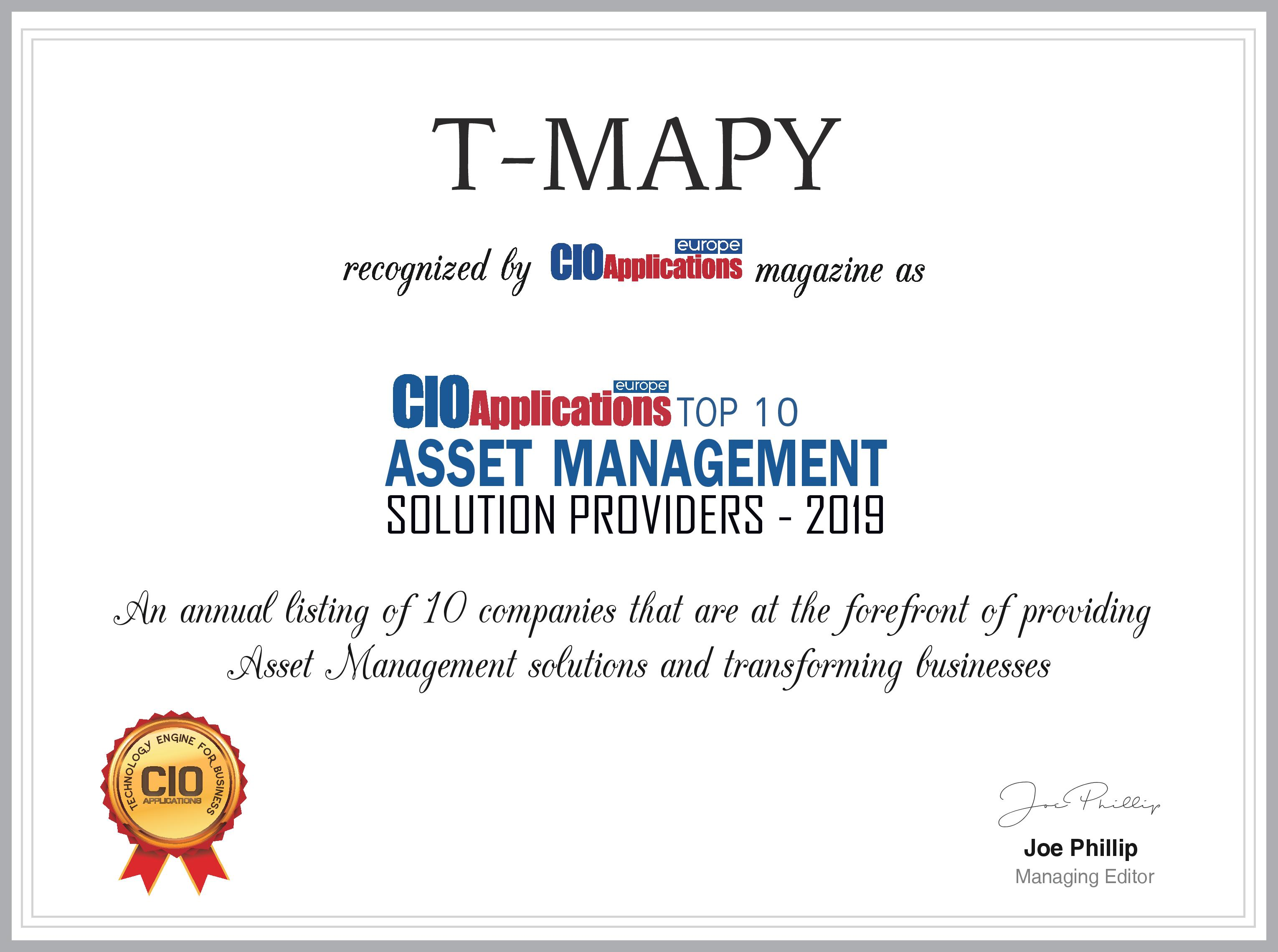 , Assetino Awarded in Top 10 Asset Management Solutions, T-MAPY spol. s r.o.