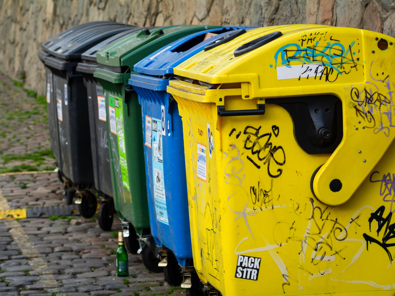 Colored Garbage Cans for Recycling